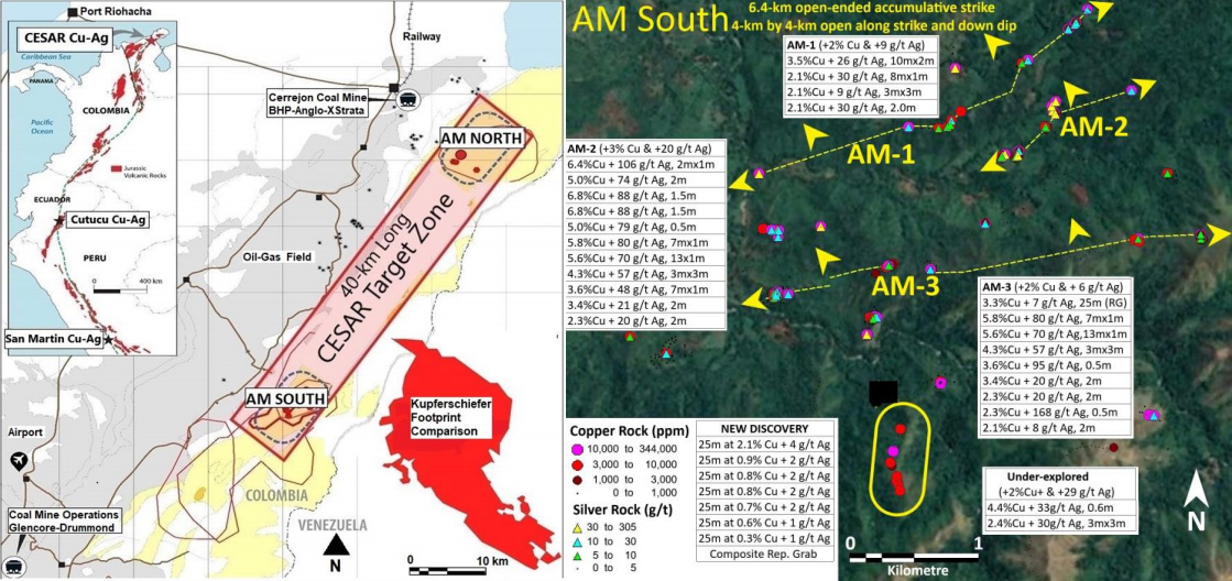 Figure 1. AM South: AM-1, AM-2, AM-3 and New Discovery cover over 4-km by 4-km open laterally.