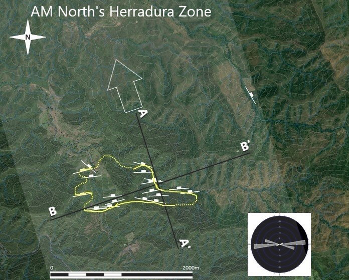 Figure 2. Plan view of surface trace of the stratabound Cu-Ag horizon at the 'Herradura Zone'