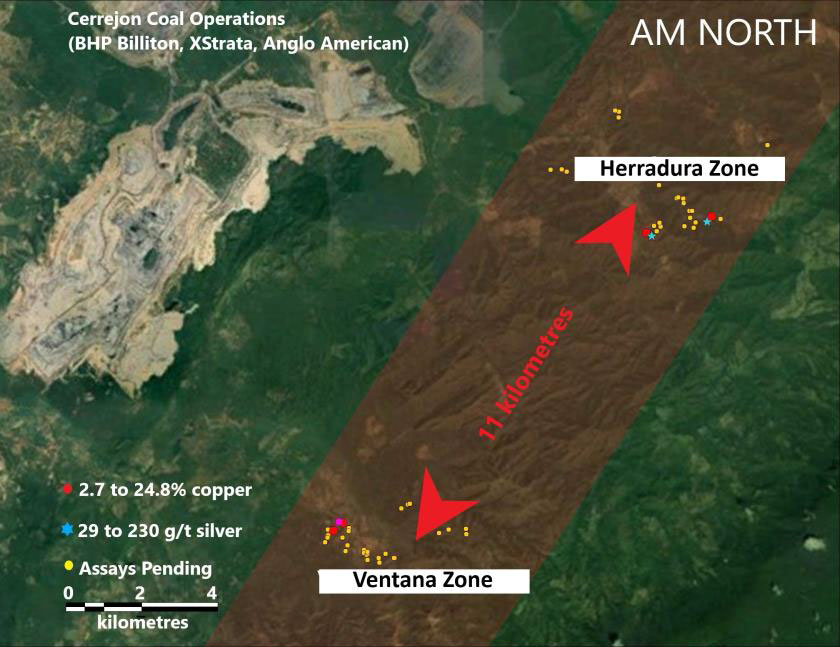 Fig 2. AM NORTH, Ventana & Herradura Zones, assays pending locations