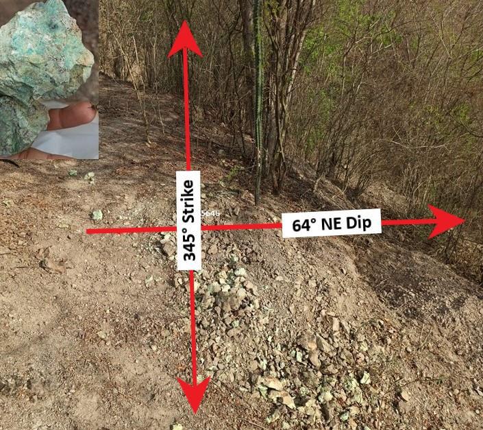 "Fig 3. ""Ventana Zone"" outcrop 425646 – 345° Azimuth - 64°NE Dip"