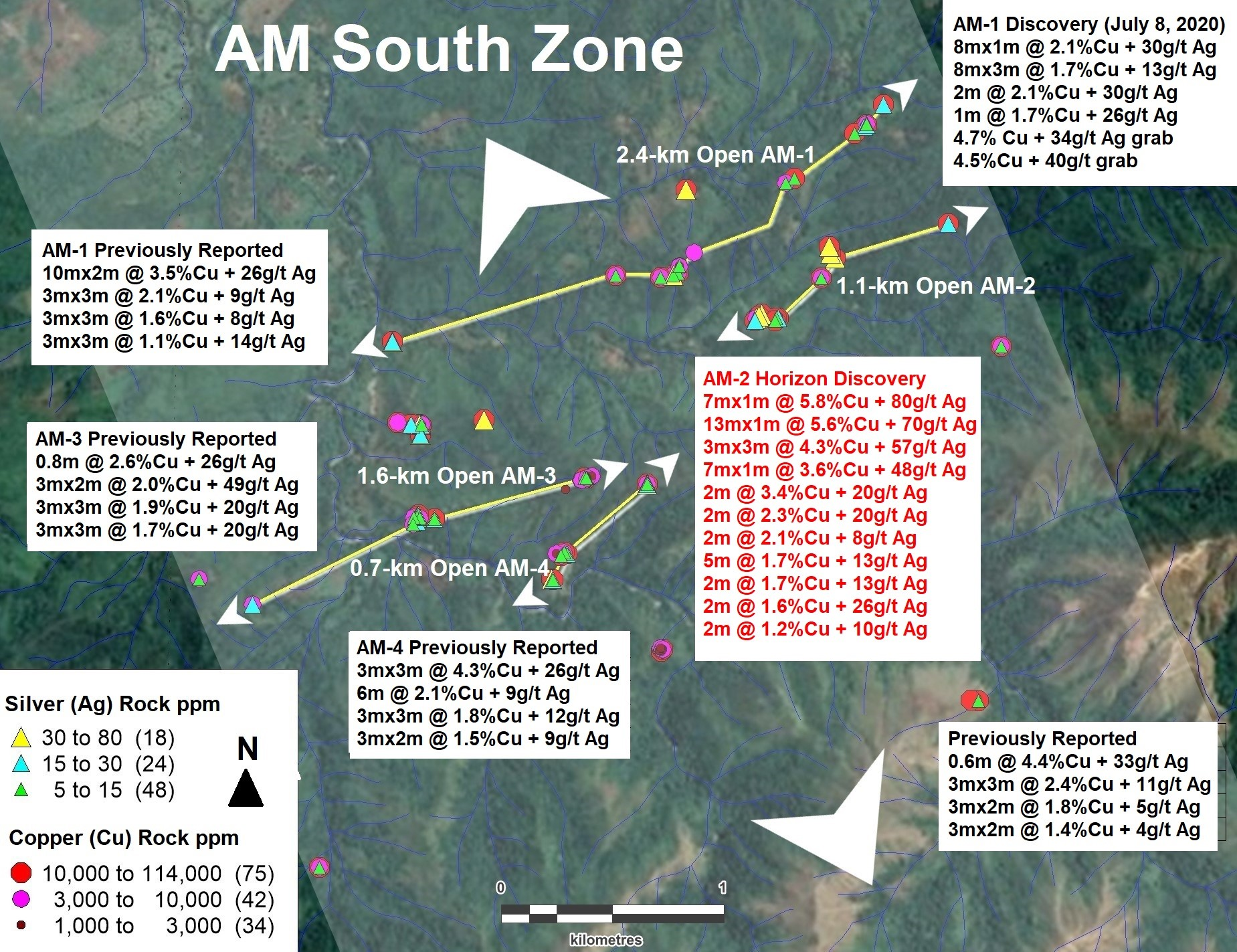 MAX Resource July 14th News - Figure 02 AM South Zone (4-kilometre by 3-kilometre Open)